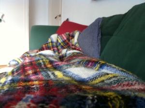 Under filt, på soffa, med film. Såg om alla Sagan om ringenfilmerna!