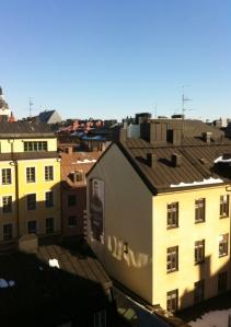 Solig utsikt från kontoret.