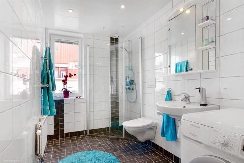 Favoritsaker i badrummet: tvättmaskin, vägghängd toalettstol, duschdörrar och fönster.