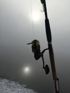 Man såg knappt tio meter från båten och solen gav upp efter en timma.